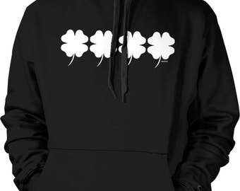 4 Leaf Clovers, Good Luck Charm, St. Patrick's Day Hooded Sweatshirt, NOFO_00943