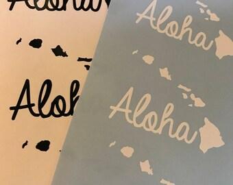 """Hawaiian Islands """"Aloha"""" Vinyl Decal Sticker"""