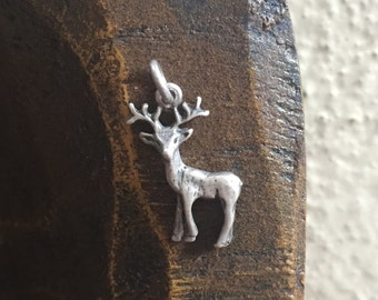 Deer #2 - 925 Silver Vintage Charm, Item S44- Free Shipping within USA