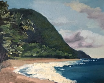 Original Painting Seascape Guadeloupe Caribbean ocean waves sand beach painting on canvas tropical landscape on canvas allaprima style