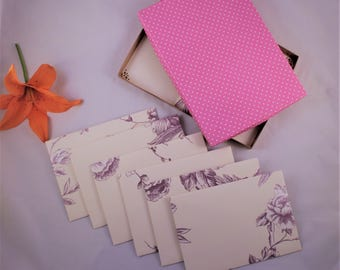 Letter Writing Stationery Set  purple, cream floral envelopes, boxed gift set of 6 or 10, writing paper, gift for her, wedding, birthday