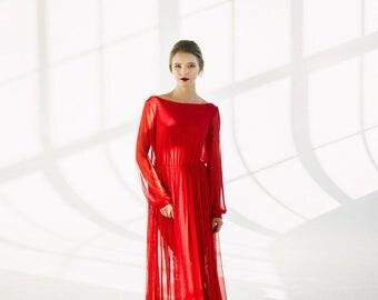 Red boudoir dress Ruby/Full lenght robe/Boudoir dress/