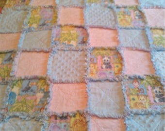 Handmade Baby Girl Rag Quilt Throw / Jungle Babies / Primitive Blanket / Patchwork Pink and Blue
