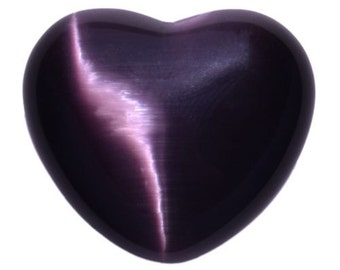 Large Dark Purple Cats Eye Puffy Heart Viber Optic Hand Carved With Free Pouch