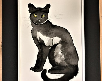 Cats - For Cat Lovers.  SALE - Charming Original Watercolour, Pen and Ink illustrations.  Black Cats, Tabby Cats, Black and White Cats,