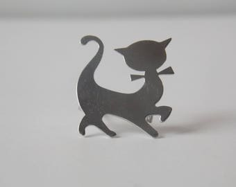 JHH Sterling Silver Cat Silhouette Brooch, JHH Brooch, Sterling Brooch, Cat Brooch, Sterling Cat Brooch, JHH Jewelry, Sterling Jewelry