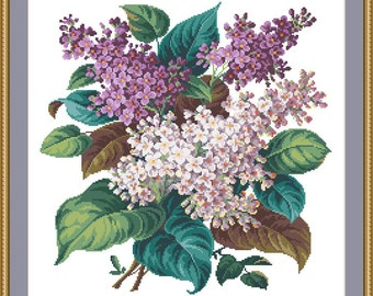 BOUQUET of LILACS - Berlin woolwork embroidery pattern, Cross stitch, Needlepoint Tapestry pattern - PDF, instant digital download