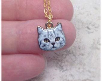 Grey Cat Necklace, Grey Cat Face, Cat Necklace, Grey Cat, Cats, Ella Rose, Cat Jewellery, Cat Lover, Christmas Gift, Cat Jewelry, Gold,