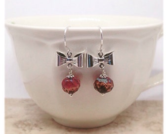 Rose Pink Bow Earrings, Silver Bow Earrings, Rose Pink Beads, Silver Bow Earrings, Ella Rose, Fancy Earrings, Anniversary Gift, Unique,