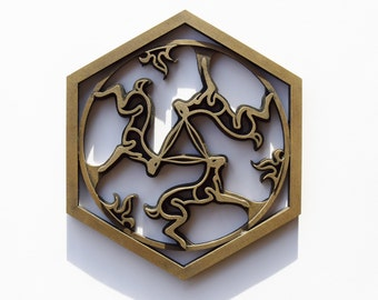 Bronze Resin Three Hares Plaque