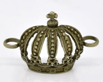 """5 vintage connector of charms """"Crown"""" 31 x 21mm bronze"""