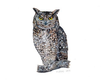 Original Eagle Owl Painting