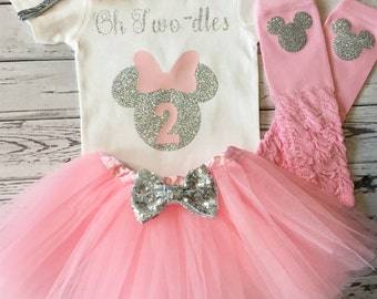 Pink and Silver Oh Twodles Minnie Mouse 2nd Birthday Shirt, Toodles Birthday Shirt, Oh Twodles, Minnie Mouse 2nd Birthday Outfit, Photo Prop
