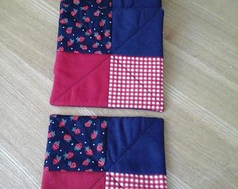 Coaster set, patchwork coaster, fabric coaster,  quilted coaster,  mug rug, table mat