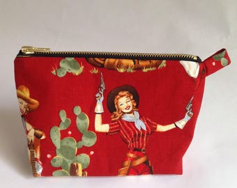 handmade retro red fabric pinup Cowgirl  cactus cosmetic, makeup, purse, pouch, Bag
