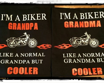 I'm a Biker Grandma and Grandpa Shirt Set Great for holidays, Father's, Mothers