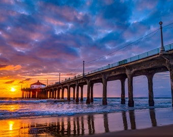 Sunset Along the Manhattan Beach Pier