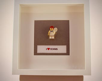 I Heart (love) Tennis Lego mini Figure framed picture 25 by 25 cm