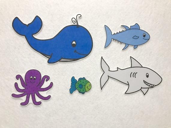 Slippery fish felt story flannel board set preschool for Fish songs for preschoolers