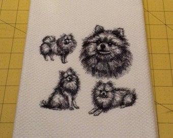 Pomeranian Collage Sketch Embroidered Williams Sonoma All Purpose Kitchen Hand Towel, 100% cotton, XL