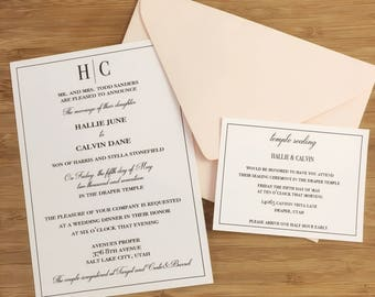 Printable Classic Monogram Wedding Invitation