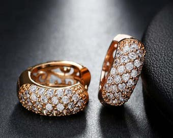 Gold or Platinium Plated Luxury Zircon Pave Setting Stud Earrings