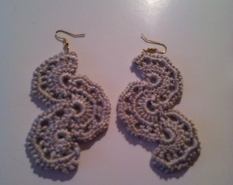 Crocheted Gray Wedge Earring's!