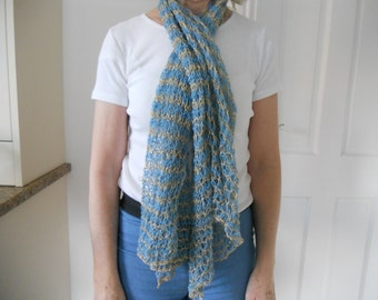 English pale blue lacy cotton scarf with lurex - Reduced