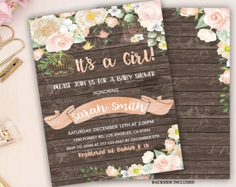 floral baby shower invitation girl baby shower invitation bird cage baby shower invitation