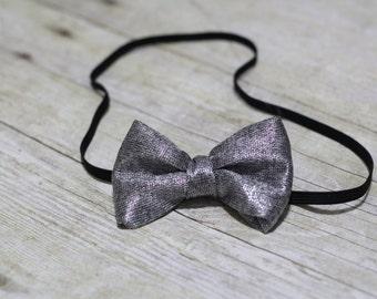 Silver Bow Headband/Bow Clip
