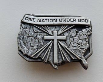 Pewter Belt Buckle - One Nation Under God