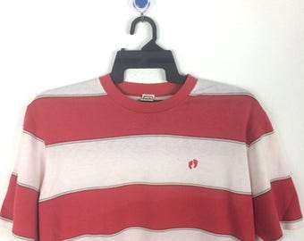 Vintage 80's Hang Ten shirt colour stripe surf grunge adult Large size