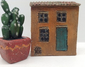 257- Orange Adobe house, Santa-Fe style hand crafted and painted.