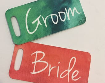 Bride & Groom Luggage Tags, Bridal Shower Gift Tags, Wedding Gift Tags