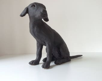 Black Labrador dog sculpture. Handmade, original ceramic art.