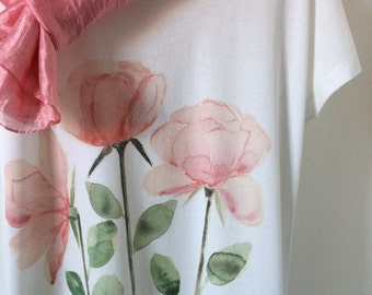 Roses Printed on Organic Cotton T-shirt and Ethically Made