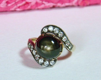 Art Nouveau Black Star Sapphire Ring 14K - Natural Black Star Sapphire White Spinel Ring 14K - Vintage Bypass Style Sapphire Ring