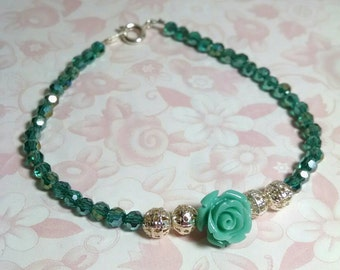 Green and Silver Crystal Beaded Rose Bracelet