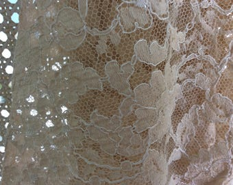 """Antique Victorian Lace LARGE Panel, Ecru, From Old Gown, 8'(100"""") x 29"""""""