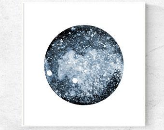 Minimalist blue galaxy art printable, modern minimalist art download, square printable art 12x12, 8x8, 5x5 abstract modern wall art print