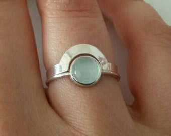 """Silver and aquamarine ring for woman. 2 stackable rings """"puzzle"""" silver and blue aquamarine"""