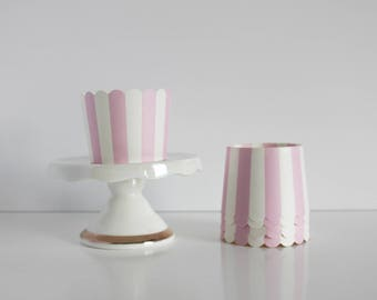 Pink and White Stripe Treat Cups / Pink and White Treat Cups / Treat Cups / Baking Cups / Pink and White / Striped Treat Cup