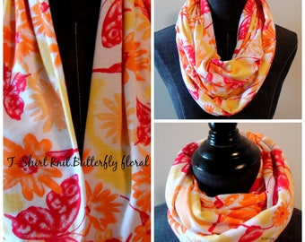 T-Shirt Knit Jersey Infinity Scarf.Scaves.Gift for Mother's Day.MOM.Butterfly Scarf.Floral Scarf.Tube Scarf.Summer Scarves.Spring Scarves.