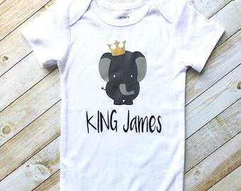 Baby boy elephant bodysuit, King bodysuit, baby boy clothes, elephant theme baby shower