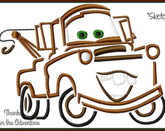 Tow Mater the Tow Truck from Cars Digital Embroidery Machine Sketch Design File 4x4 5x7 6x10