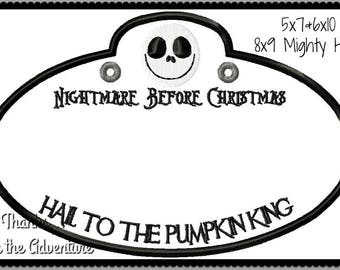 In The Hoop Disney Nightmare Before Christmas Cast Member Name Stroller Tag Applique Digital Embroidery Machine Design File Multiple Sizes