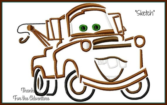 Tow mater the truck from cars digital embroidery