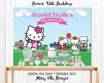 Hello Kitty Dessert Table Backdrop // Hello Kitty Themed Party // Personalized Party Backdrop // Digital Printable