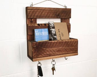 Handmade Reclaimed Wood Mail Organiser / Key Holder