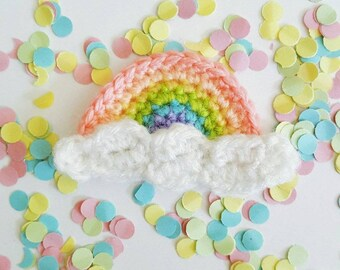 Crochet pastel rainbow brooch // Pastel // Rainbow // My Little Pony // Kawaii